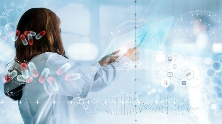 Medicine doctor holding virtual interface and medical analysis on hologram modern screen, report record. DNA. Digital healthcare and network connection, innovative, medical technology and network concept