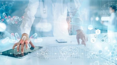 Medicine doctor analysis electronic medical record on interface display. DNA. Digital healthcare and network connection on hologram modern virtual screen, innovative, medical technology and network concept.